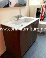 Fashinable style acrylic artificial marble built bathroom vanity with intergrated sink