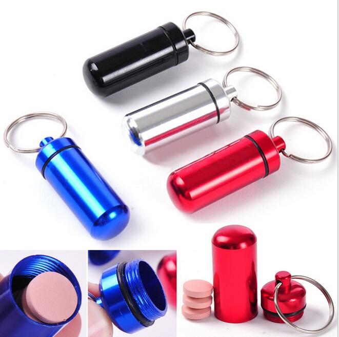 EDC Outdoor tools Key Holder Aluminum Waterproof Pill Shaped Box Bottle Holder Container Keychain Dedicine Keyring Keychain Box
