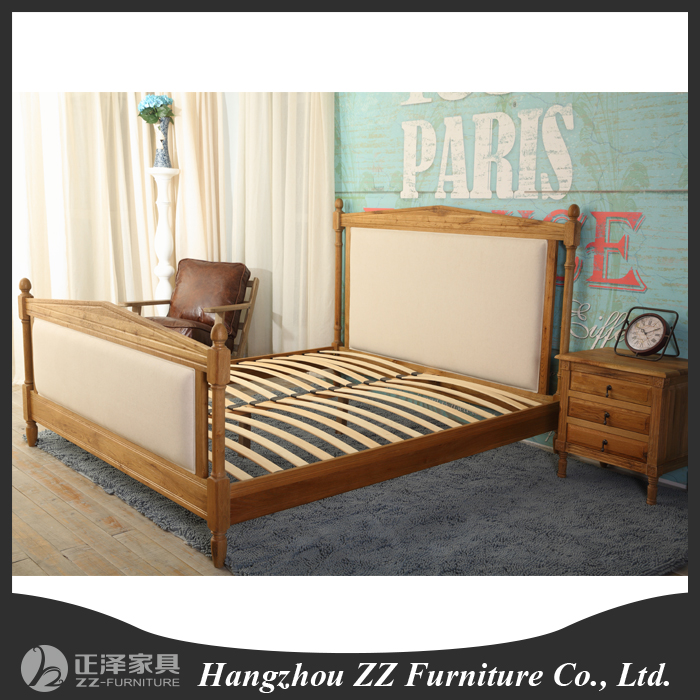 upholstered solid wood king size bed french style bedroom furniture