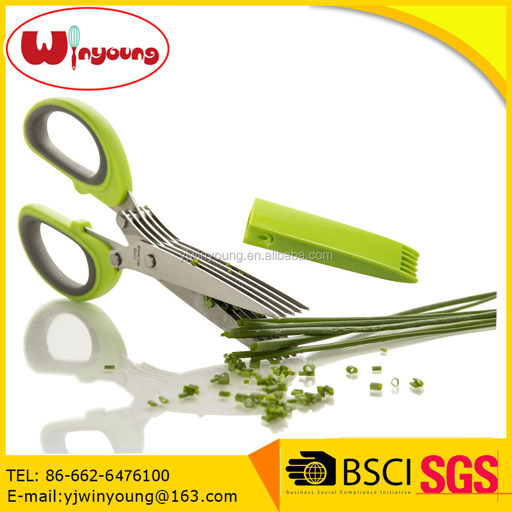 Amazon Hot sale soft TPR handle 5 Blades types of Kitchen Scissors