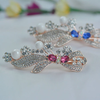 French Barrette Hair Clips Wholesale Bling Crystal Rhinestone Barrettes