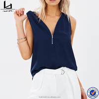 2017 women clothing sleeveless zip front chiffon blouse