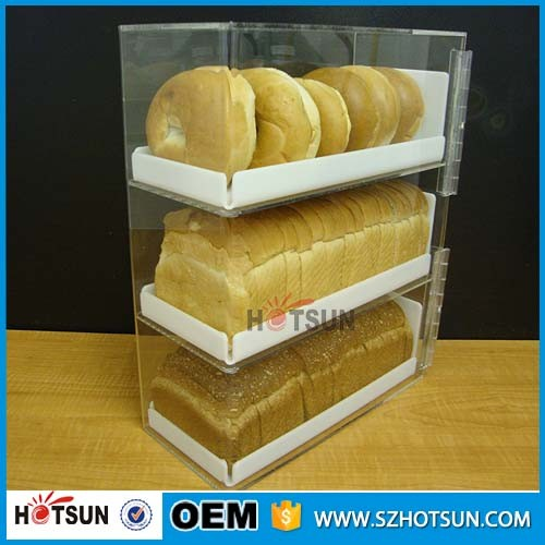 Acrylic 3 Tiers Bread Donut Bagels Cookie Cupcake Pastry Bakery Storage Display Cases With 3 White Trays