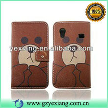 For Samsung s5830 Factory Price Baby Bear PU Catoon Leather Case