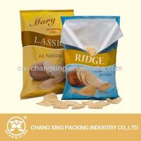 Metalic potato chips cassava chips bag with custom logo design printing made in China
