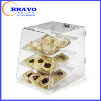 Acrylic Unassembled Three Tray Pastry Display Case with Self Serve Front and Back Door