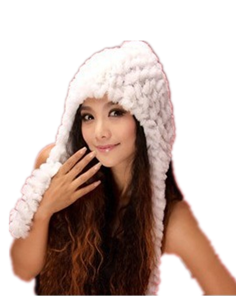 H648-natural rex rabbit fur gray/white/red/brown autumn winter warm cap for women fashion wholesale fur hat and scarf