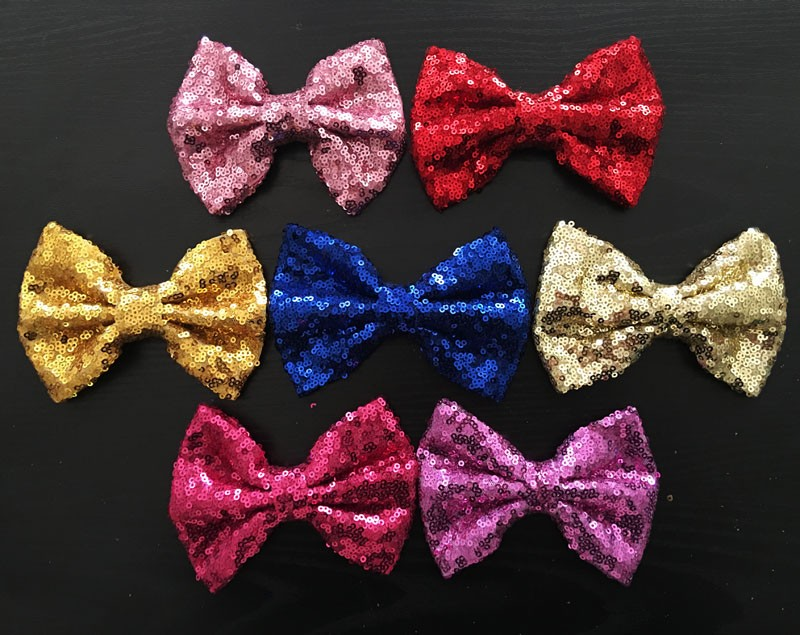 Newest 5''Large Sequin Fabric Hair Bows kid's Sequin Bows Tie