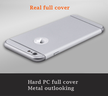 For iphone 6 hard PC metal case all edge full cover three in one patent design mobile phone case
