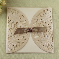 Hot Sell Laser Cut Flower Theme Fancy Paper Wedding Invitation Covers