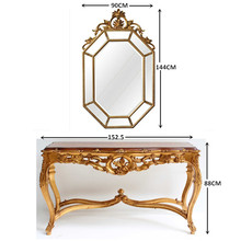 Victorian Reproduction Furniture Sets Console Table and Wall Mirror For Living Room Display