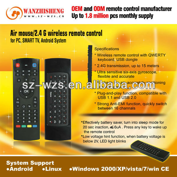 2014 New Arrival 2.4GHz 6 Axis Wireless Air Mouse Support Smart TV Remote Control for Android TV Box