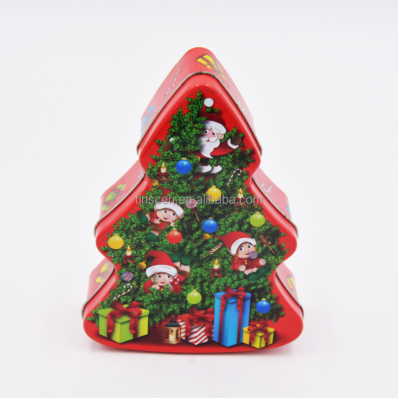 Christmas tree shaped gift tin box for children