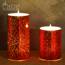 Matti's new set of 2 RED 3D mercury glass led candle