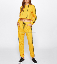European Fashion Jogging Wear Wholesale Fleece Tracksuit Yellow Plain Adult Sweat Suit