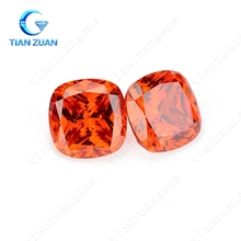 Hot sell 6A quality cubic zirconia orange cushion CZ Synthetic diamond