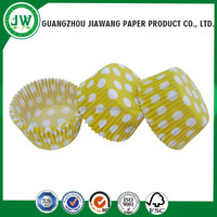 Yellow color polka dots round cupcake liner with SGS certificate