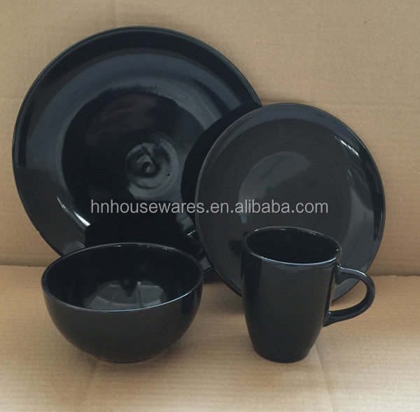 Black color galzed ceramic stoneware homeware used 16pcs dinner set stock