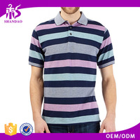 2016 Guangzhou Shandao OEM Factory Casual Summer 160g 95% Polyester 5% Spandex Short Sleeve Stripe Cheap China Clothing