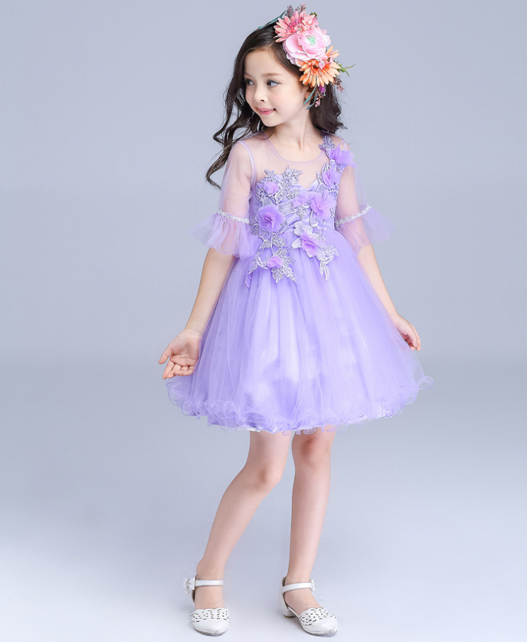 Showlands Latest Children Dress Designs Purple Satin of Bowknot Sleeveless Frocks