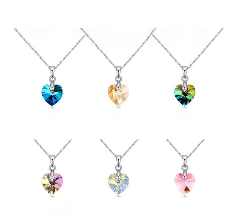 Heart Pendant Necklace Crystals Silver Color Chain Necklaces For Women Kids Jewelry