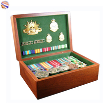 Military use Green Velvet Lining Birch Wooden Medal display wood Gift Box with Wood Lid