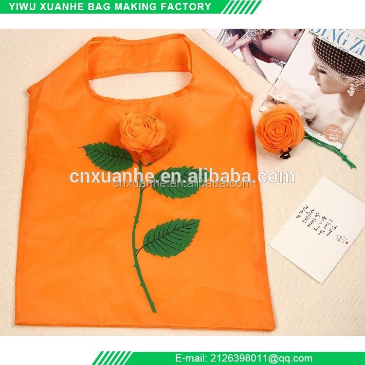 factory wholesale high quality reusable rose shaped folding shopping bag