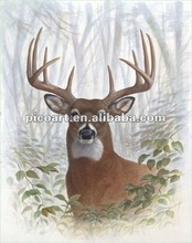 Illusional deer realistic oil painting wild life oil painting vivid animal oil paintings