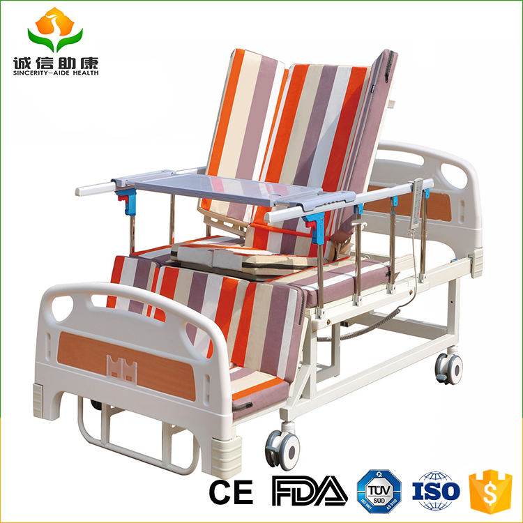 Automatic adjustable electric leg position and change double mattress cover nursing home care medical hospital bed approved