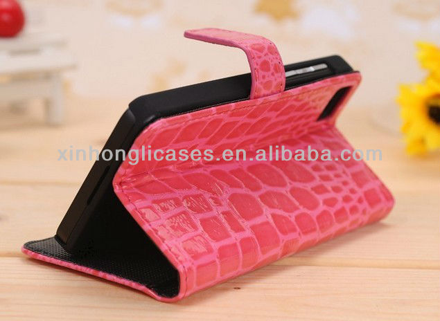2013 new design Good quatliy Crocodile Flip leather case cover for Blackberry Z10