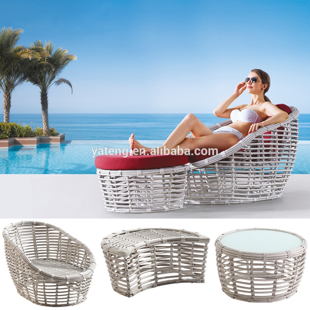 rattan sun lounge bed luxury classic outdoor round chaise. Black Bedroom Furniture Sets. Home Design Ideas