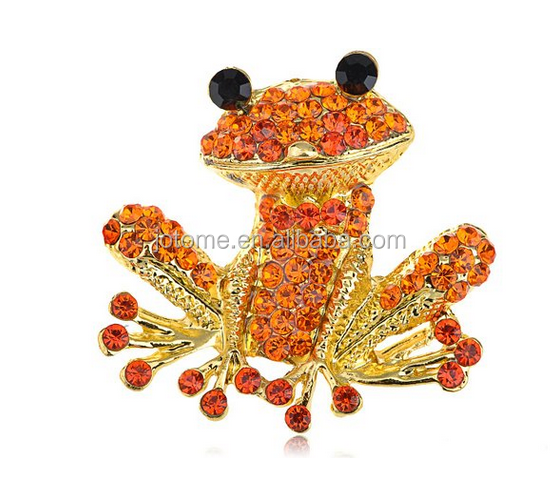 Fiery Orange Red Happy Crystal Rhinestones Golden Tone Smiling Frog Pin Brooch
