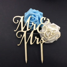 wholesale natural wood mr&mrs cake topper for wedding decoration