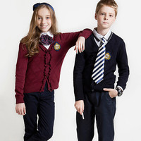 European Styles nave uniform contract colour fashion Cardigan Unisex Stylish Kids School Uniform Sweater