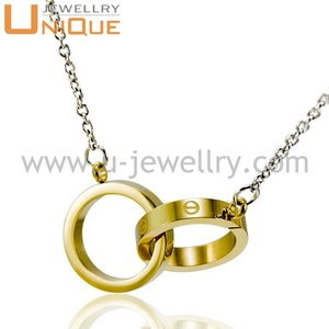 New Stainless Steel Necklace gold color plated round ring holding Necklace with steel chain