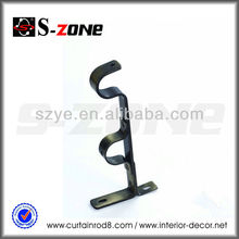 Metal double wall mounted curtain rod bracket for curtain rod hanging