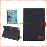 Cowboy Jeans Cloth Canvas Stand Hand Holder Folio Leather Case for iPad Mini 4
