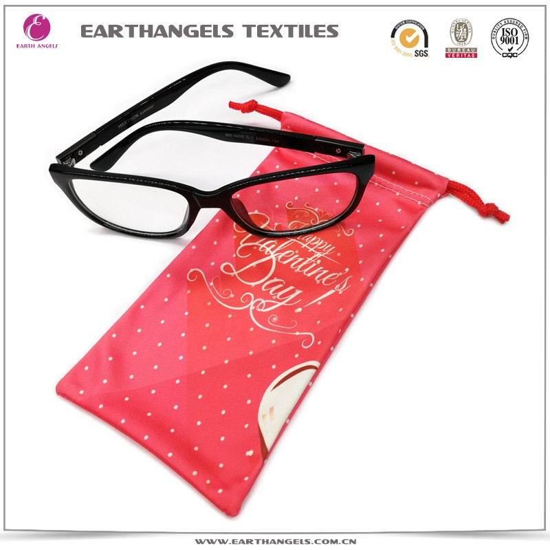 custom double drawstring microfiber eyeglass/sunglass/glasses pouch
