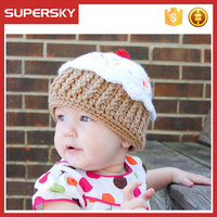 A-1386 Children Pom Cake Hat Knitted Pattern Crochet Baby Cakes Cupcake Hat Kids Knitting Pattern Cupcake Hat