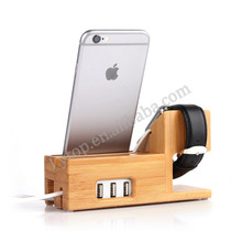 Bamboo charging stand for apple watch with inside charger,for apple watch stand 2 in 1