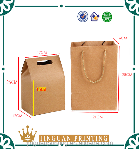 Customized print logo shopping kraft brown paper bags with handles wholesale
