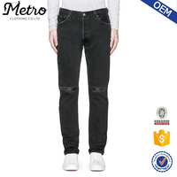 OEM latest design denim ripped jeans for men with custom label