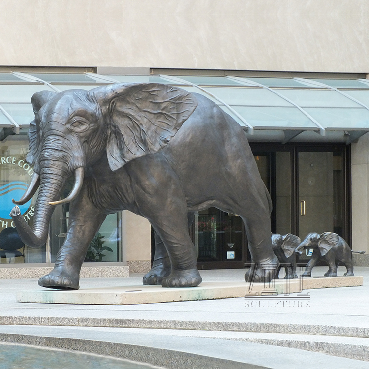 Modern Decoration bronze father and son elephant group statues