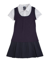 High school uniform designs for girl manufacturer provide shirt and dress set sample