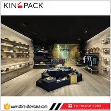 Retail store MDF shoe rack designs wood showcase