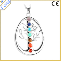 7 Chakra Tree Reiki Pendant Necklace Metaphysical Jewelry