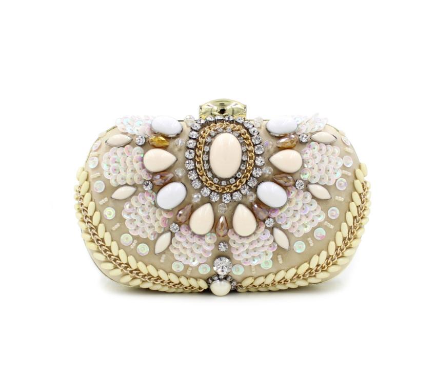 2017 nouvelle conception et se composent de perles colorées dorée perlée embrayage sac