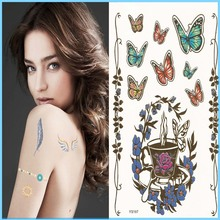 2016 multi-colored Eco-friendly Gold Metallic Art temporary Jewllery tattoo