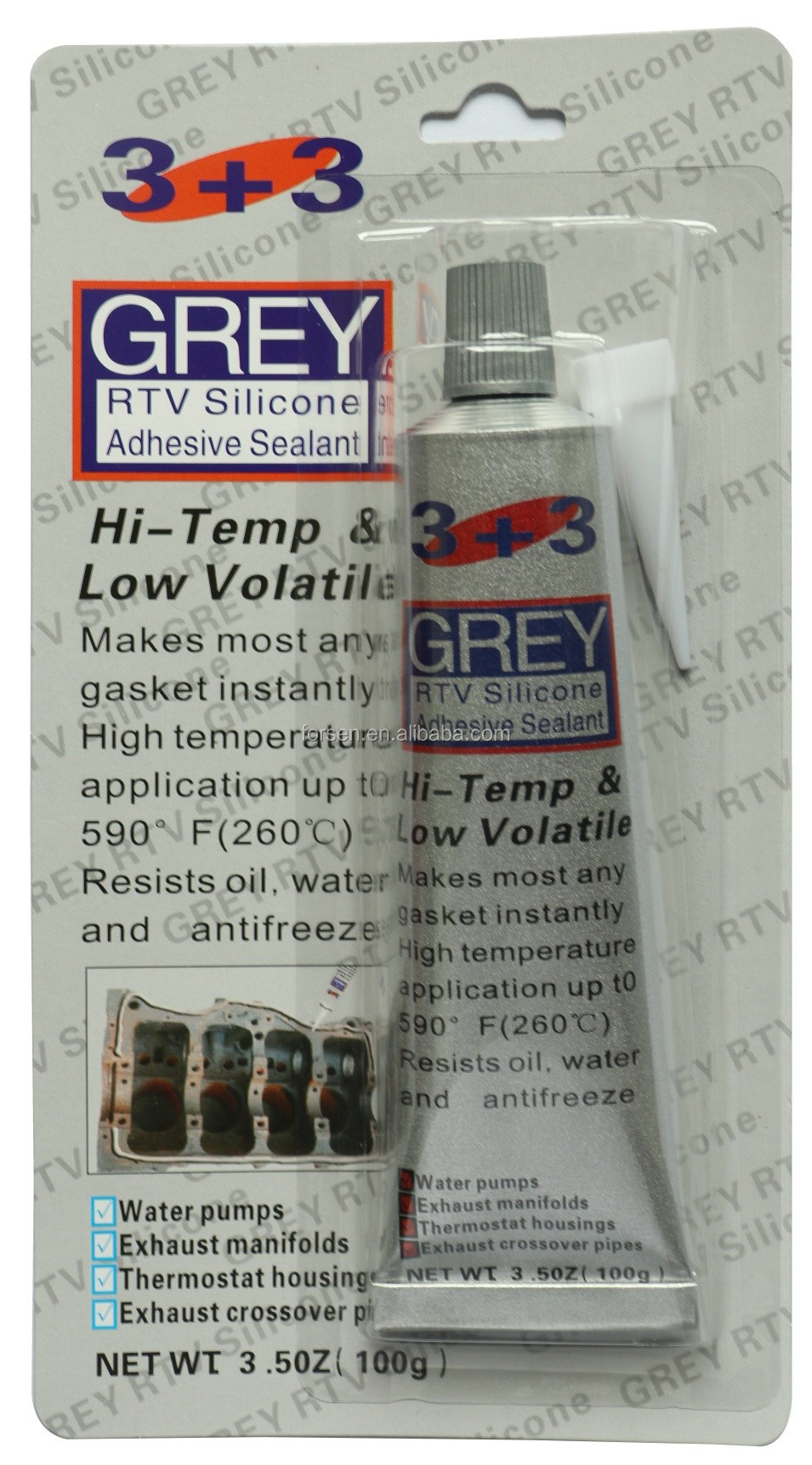3+3 Gray RTV Silicone Gasket Maker Most Popular Adhesives