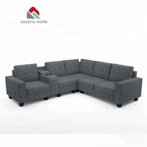 Design modern furniture black european style wooden living room fabric classic corner sofa set